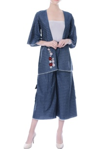 denim-blue-checkered-jacket-and-culottes-set