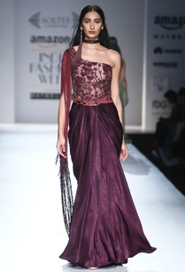 burgundy-one-shoulder-embroidered-gown