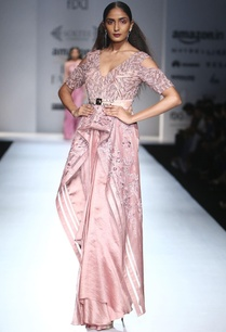 rose-pink-asymmetric-jacket-draped-silk-skirt