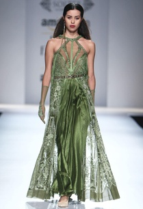 olive-green-front-slit-top-with-draped-skirt