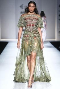 olive-green-asymmetric-dress