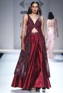 ox-blood-embellished-jacket-flared-skirt