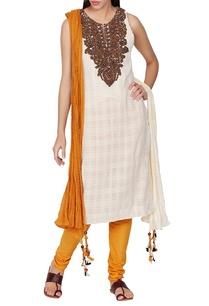 ivory-mustard-kurta-set-with-yoke-embroidery