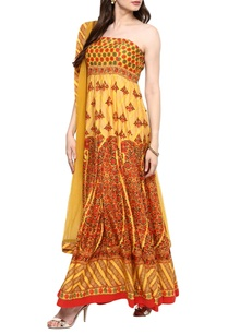 yellow-colorful-print-tube-kurta-with-dupatta