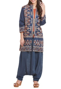 blue-motif-work-jacket-harem-pants-with-top