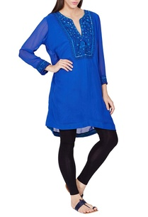 royal-blue-knee-length-kurta-with-beadwork-and-sequin-details