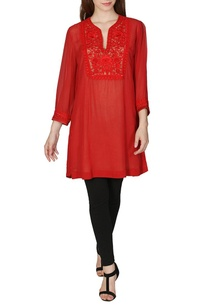 brick-red-embroidered-kurta