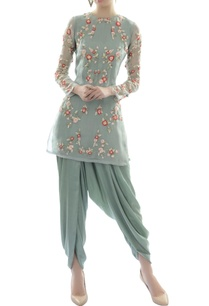 blue-floral-detailed-organza-tunic-with-modal-dhoti