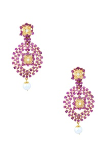 gold-finish-purple-drop-earrings