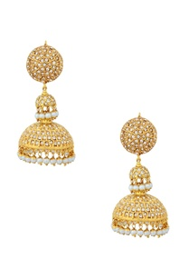 gold-finish-pair-of-studded-jhumkas