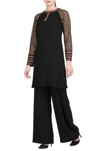 black-kurta-with-sheer-sleeves-trousers