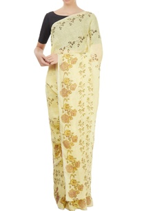 lemon-yellow-block-print-sari