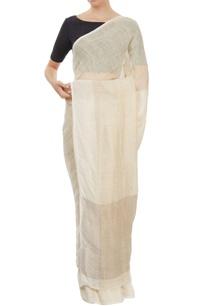 off-white-linen-sari