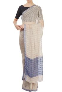 light-brown-sari-with-blue-pallu