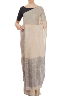 light-brown-sari-with-grey-pallu