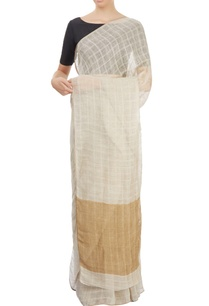 cream-checkered-sari