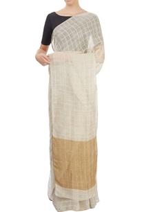 cream-checkered-sari