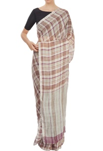 khaki-purple-plaid-sari