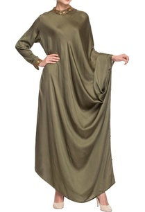 olive-green-band-collar-dress