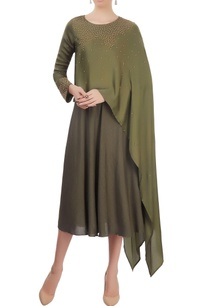 olive-green-layered-dress