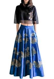 turquoise-applique-skirt-with-black-crop-top