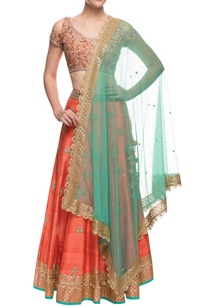 orange-green-sequin-embellished-lehenga-set