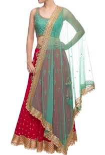 red-aqua-blue-embellished-lehenga-set