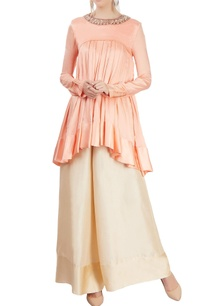 peach-flared-kurta-with-palazzo-pants
