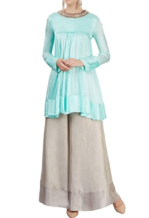 aqua-blue-flared-kurta-with-palazzo-pants
