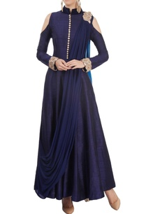 navy-blue-cold-shoulder-kurta-set