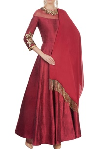 ox-blood-embellished-anarkali-set