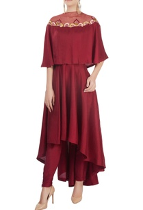 ox-blood-high-low-kurta-with-pants