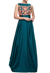 teal-blue-gown-with-gota-patti-work