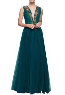 teal-floor-length-gown-with-floral-embroidery-on-the-yoke