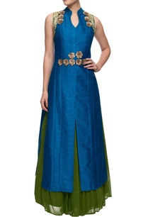 teal-blue-and-green-rose-motif-achkan