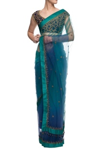 blue-and-green-shaded-sari-with-leaf-embroidered-blouse