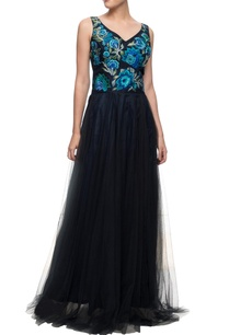 blue-and-black-gown-with-resham-work-on-the-yoke