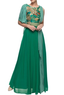 turquoise-floor-length-embroidered-kurta-with-drapes