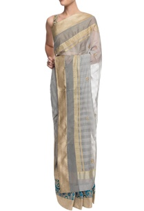 grey-and-gold-striped-sari-with-motif-details