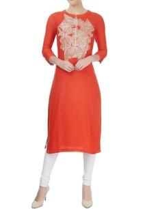 red-cotton-silk-hand-embroidered-kurta