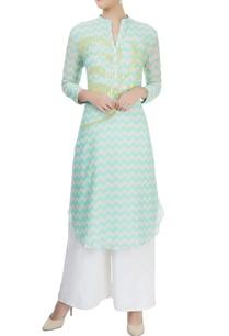 mint-blue-white-chevron-print-kurta-with-sequins