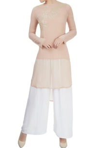 rose-pink-high-low-kurta-with-gold-sequin-motif-pattern