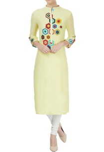 yellow-kurta-with-multi-color-applique-work