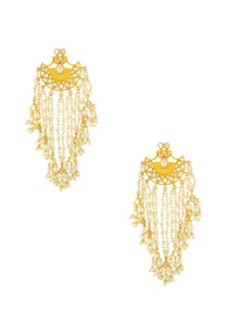 gold-finish-earrings-with-pearl-chain-detail