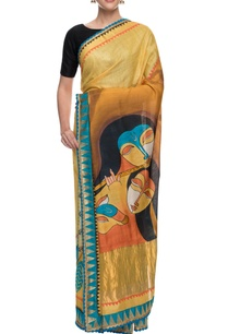 yellow-monga-silk-sari-with-hand-painted-pallu