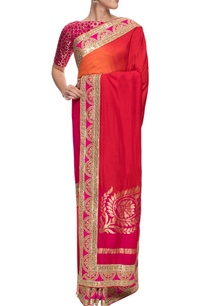 a-shaded-red-and-pink-benarasi-sari-with-gota-border