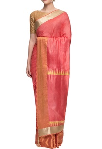 carrot-pink-sari-with-tribal-print