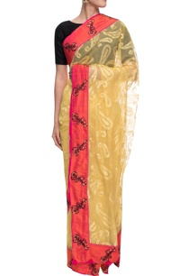 yellow-self-weave-net-chanderi-sari