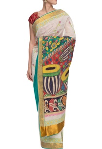 white-kerela-kasavu-sari-with-kalamkari-and-floral-prints