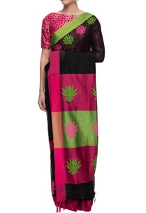 black-and-pink-lotus-motif-linen-sari